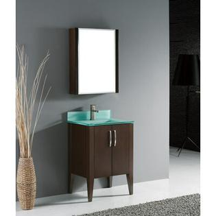 "Madeli Caserta 24"" Bathroom Vanity Set in Walnut with Glass Top - Glass Top Finish: Zen Black at Sears.com"