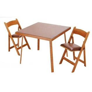 "Kestell Furniture 35"" Oak Folding Card Table - Upholstery: Red Vinyl, Finish: Pecan at Sears.com"
