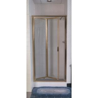 "Coastal Industries Paragon Double Hinge Bifold Shower Door (2 Pieces) - Frame Finish: Gold, Glass Type: Clear, Opening Width: 66"" x 34"" at Sears.com"