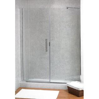 Coastal Industries Paragon Illusion Series Ladder Pull Frameless Shower Door & Inline Panel -Trim Finish:Brite Silver, Configurations:L Hinge, Show at Sears.com