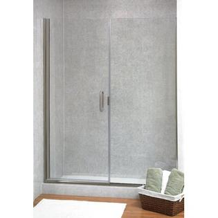 Coastal Industries Paragon Illusion Series C-Pull Frameless Shower Door & Inline Panel -Trim Finish:Brite Silver, Configurations:R Hinge, Shower Op at Sears.com