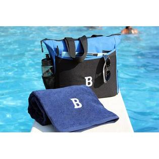 Luxor Linens Bora Bora Resort 3 Piece Beach Towel Set - Monogram Letter: R, Color: Black Bag & White Towel at Sears.com
