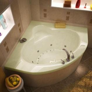 "Spa Escapes Trinidad 60x60x23"" Corner Air & Whirlpool Jetted Bathtub -Finish:Biscuit, Trim Finish:Polished Chrome, Pump Location:Right at Sears.com"