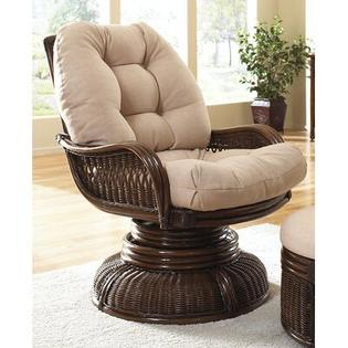 Hospitality Rattan Legacy Swivel Rocking Chair with Cushion - Fabric: Rave Brick at Sears.com