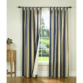 "Thermalogic Weathermate Broad Stripe Cotton Tab Top Drape Pair - Color: Navy, Size: 72"" H x 80"" W at Sears.com"
