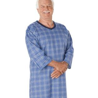 Silvert's Men's Open Back Cotton Adaptive Nightgown in Assorted Prints - Size: Small at Sears.com