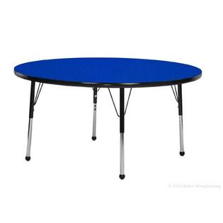 "Mahar 24"" Round Table - Edge Color: Teal, Leg Height & Glide Style: Standard 21""-30"" Self-leveling nickel glide, Top Color: Maple at Sears.com"