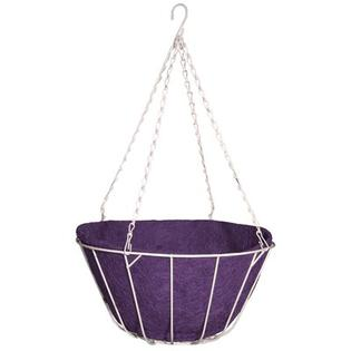 "Robert Allen Home and Garden Chateau Round Wire Hanging Basket - Size: 14"", Color: Purple"