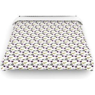 "Kess InHouse ""Mapleseeds"" Woven Comforter Duvet Cover - Color: Plum, Size: Full/Queen"