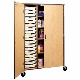 "Fleetwood 72"" H Storage Cabinet with Shelving and Optional Trays - Bins: 9 Large, Body Color/Trim: Beige Linen/Black"