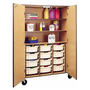 "Fleetwood 72"" H Storage Cabinet with 3 Shelves and Optional Trays - Bins: 12 Large, Body Color/Trim: Beige Linen/Black"