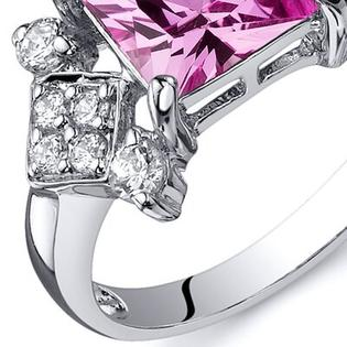 Oravo Princess Cut 2.25 Carats Cubic Zirconia Ring in Sterling Silver - Size: 9, Color: Pink Sapphire at Sears.com