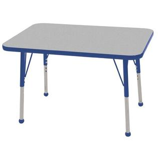 Ecr4Kids 24x36 Rectangular Adjustable  Activity Table in Gray - Edge Banding: Blue, Leg Color: Blue, Leg Style: Standard Leg Ball Glides at Sears.com