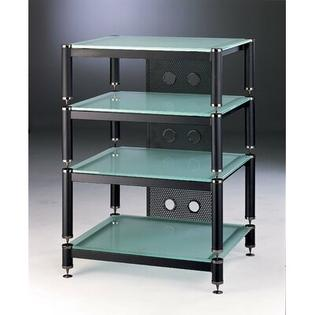 VTI BLG 4-Shelf Amp Stand/Audio Rack - Glass Color: Frosted, Cap Color: Black, Poles Color: Silver at Sears.com