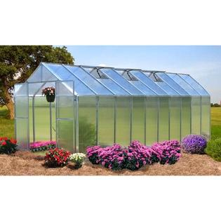 "Riverstone Industries Corporation Monticello Premium Polycarbonate Commercial Greenhouse - Frame Finish: Aluminum, Size: 8.0' W x 16.0' L x 7' 6"" H at Sears.com"