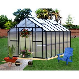 "Riverstone Industries Corporation Monticello Premium Polycarbonate Commercial Greenhouse - Frame Finish: Black, Size: 8.0' W x 12.0' L x 7' 6"" H at Sears.com"