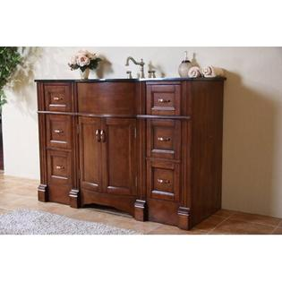"Legion Furniture 48"" Single Bathroom Vanity Set in Light Walnut - Vanity Top: Absolute Black Granite at Sears.com"