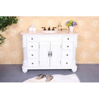 "Legion Furniture 48"" Single Bathroom Vanity Set in White - Vanity Top: Baltic Brown Granite at Sears.com"