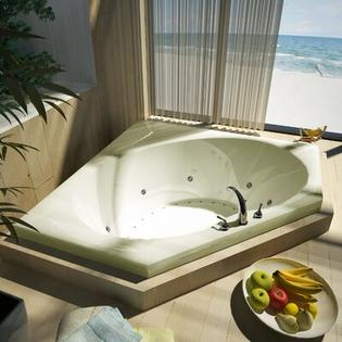 "Spa Escapes Tortola 60x60x23"" Corner Air & Whirlpool Jetted Bathtub -Drain / Pump Location:ctr Drain / R Pump, Finish:Biscuit, Trim Finish:B at Sears.com"