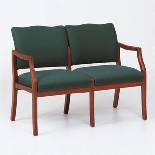 Lesro Franklin Two Seats - Arms: Center Arm Not Included, Finish: Walnut, Material: Renaissance Chalk Vinyl at Sears.com