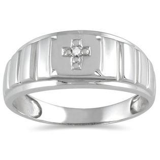 SZUL Men's 10K White Gold Round Cut Diamond Cross Ring - Size: 6.5