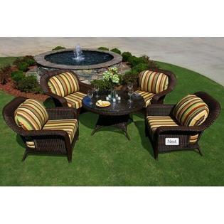Tortuga Outdoor 5 Piece Conversation Seating Group - Finish: Java, Fabric: Sunbrella Dorset Cherry