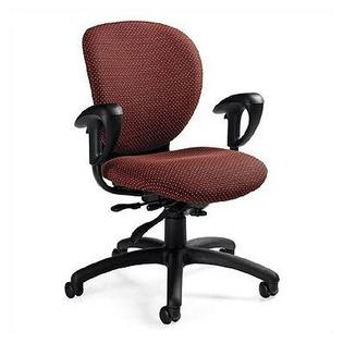 Global Total Office Low-Back Multi-Tilter Office Chair with Arms - Fabric: Mock Leather Surf, Arms: Height-Adjustable Arms, Tilt: Posture Tilt