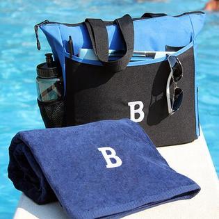 Luxor Linens Bora Bora Resort 3 Piece Beach Towel Set - Monogram Letter: None, Color: Navy Blue Bag & Towel