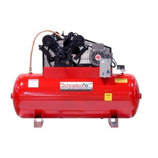 Schrader 240 Gallon Professional Series 2 Stage 30 HP Horizontal Air Compressor with After Cooler - Voltage: 460V