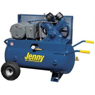 Jenny Products 5 HP Electric 230 Volt Single Stage Wheeled Portable Air Compressor -Tanks Size:30 Gallon, Air Line Filter -Metal Bowl -3/8 ...