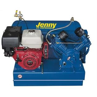 Jenny Products 30 Gallon 11 Horse Power Gas 2 Stage Special Portable Air Compressor -Mount:Trailer, Air Line Filter -Metal Bowl -3/8 NPT:No, ...