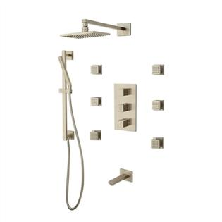 Bathselect Reno Brushed Nickel Solid Br Shower System With Adjule Body Jets Thermostatic Mixer And