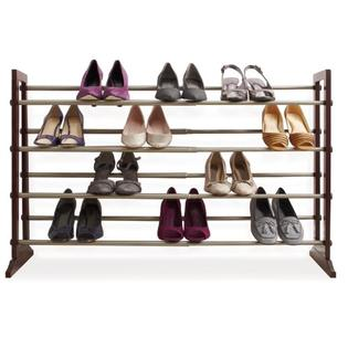 HOME BASICS 4-Tier Expandable Shoe Rack with Wood Panels at Sears.com