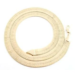 JOTW Gold 7mm Herringbone Chain Necklace (24 Inches)