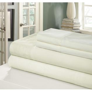 Chic Home NEW!! Chic Home 400 Series Peach Skin Microfiber 4-Piece Sheet Set Ensemble, Queen, White