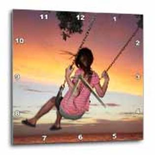 3dRose - Danita Delimont - Family Fun - Girl, Rope Swing, Family Fun, Thames, New Zealand -AU02 DWA6226 - David Wall - Wall Clocks at Sears.com