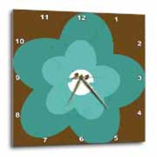 3dRose - PS Flowers - Double Aqua Flower - Floral Art Print - Fun and Whimsical for Children - Wall Clocks at Sears.com