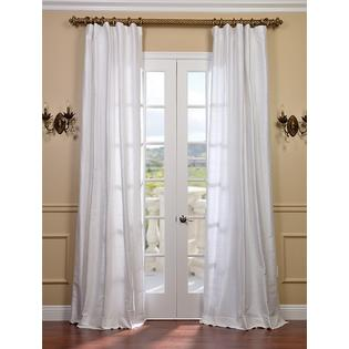 Exclusive Fabrics & Furnishings, LLC Lily White Textured Dupioni Silk Curtains, 50 X 84 at Sears.com