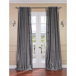 Exclusive Fabrics & Furnishings, LLC Storm Grey Vintage Textured Faux Dupioni Silk Curtains, 50 X 84 at Sears.com