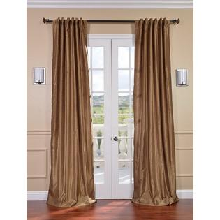 Exclusive Fabrics & Furnishings, LLC Flax Gold Vintage Textured Faux Dupioni Silk Curtains, 50 X 84 at Sears.com
