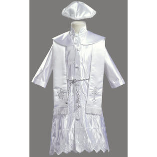 LITO White Embroidered Satin Christening Baptism Robe with Shawl and Cap at Sears.com