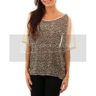 FM Gifts KHAKI CHEETAH PRINTED FRONT CHIFFON PLUS SIZE TOP at Sears.com