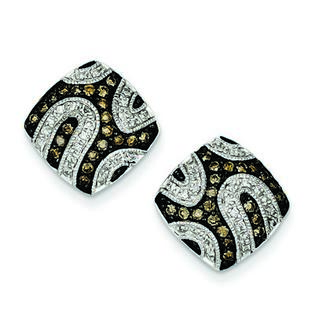 Jewelryweb Sterling Silver Champagne Rough Diamond Square Post Earrings at Sears.com