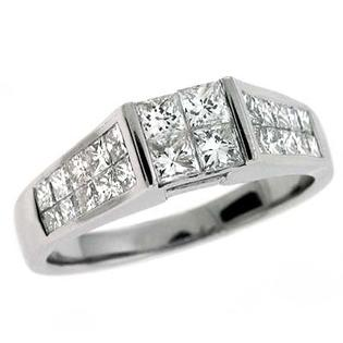 Jewelryweb 14k White Princess Cut 1.3 Ct Diamond Engagement Ring - Size 7.0 at Sears.com