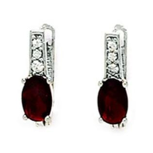 Jewelryweb Sterling Silver Plated January B.Stone Garnet 3x5mm Oval CZ Leverback Earrings - Measures 12x3mm