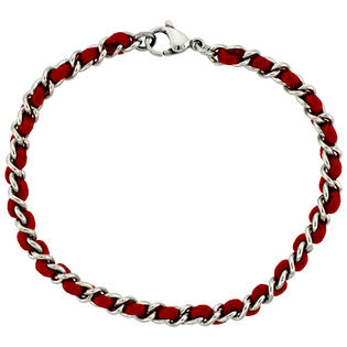 Sabrina Silver Stainless Steel Link Bracelet intertwined w/ Red Satin Cord, 7 1/4 in. long 3/16 in. (4mm) wide at Sears.com