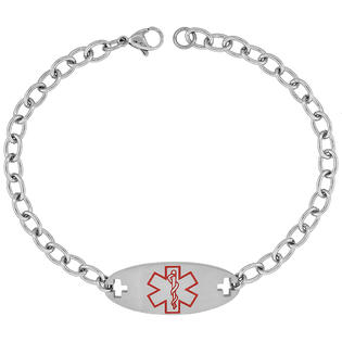 Sabrina Silver Surgical Steel Steel Medical Emergency Attention ID Bracelet, 9/16 in. (14mm) wide, 8 1/2 in. (22 cm) long at Sears.com