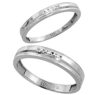 Sabrina Silver 10k White Gold Diamond Wedding Rings Set for him 4 mm and her 3 mm 2-Piece 0.05 cttw Brilliant Cut, ladies sizes 5  10, mens si at Sears.com
