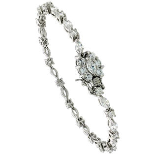 Sabrina Silver Sterling Silver Tennis Bracelet Cubic Zirconia Stones Alternating Round & Marquise Cut, Rhodium Finish, with Hidden safety clasp at Sears.com