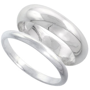 Sabrina Silver Sterling Silver High Dome Wedding Band Ring Set his and Hers 2 mm sizes 4 - 9.5 + 6 mm-sizes 4 - 13.5 at Sears.com